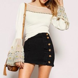🌼 Free People Shirt Bell Sleeve Peasant Top White